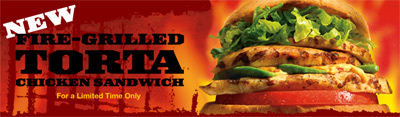 Baja Fresh Fire-grilled Chicken Torta Sandwich