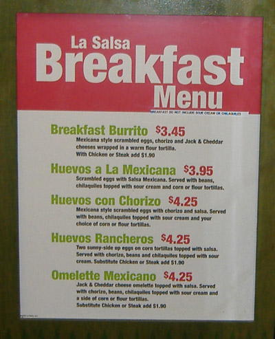 La Salsa - Breakfast Menu