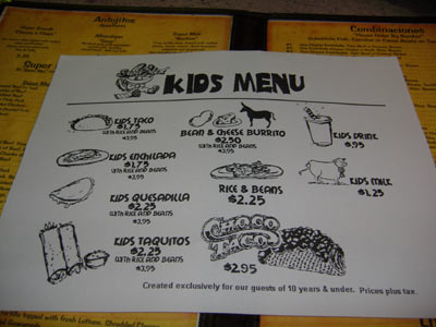 Super Mex - Kids Menu